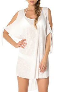 White Breezy Basic Convertible Cold Shoulder Tunic Cover-Up