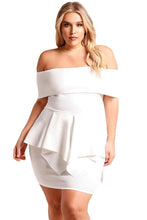 White Plus Size Fold Over Off Shoulder Peplum Dress