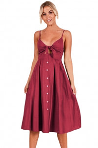 Wine Sexy Backless Tie Front Button Skirt Midi Dress