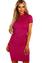 Wine Women's Party Mini Lace Peplum Dress