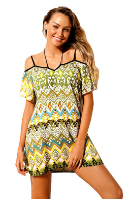 Yellow Bohemian Pattern Flutter Sleeves Beach Tunic