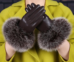 Sheepskin Leather Gloves Warm Keeping Screen Touching Gloves (1 pair)