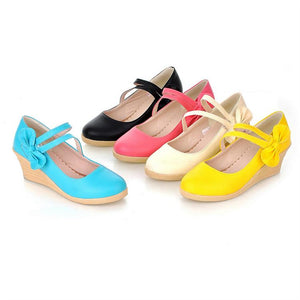 Casual Retro Bow Wedge Platform Pumps Four Seasons