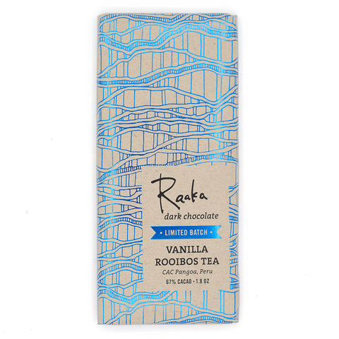 Raaka rooibos vanille vegan bean to bar chocolade