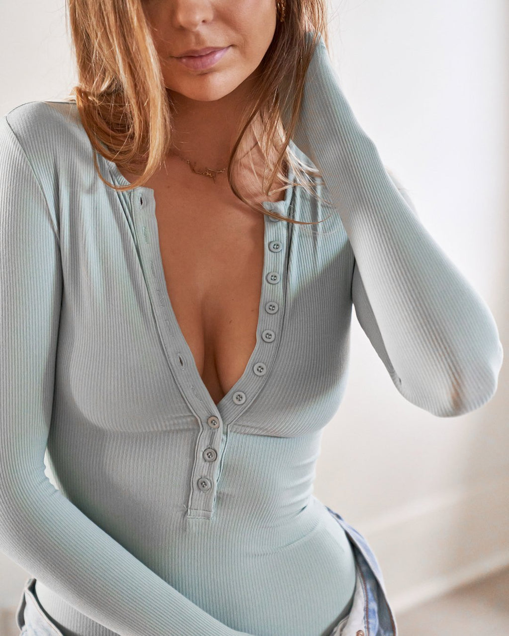Long Sleeve Crew Neck Button Down Bodysuit - Sage