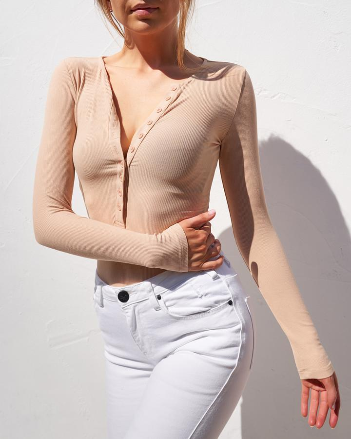 Long Sleeve Crew Neck Button Down Bodysuit - Beige