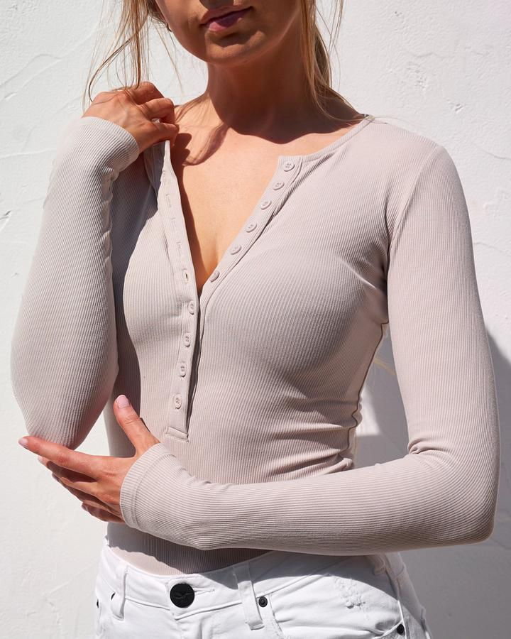 Long Sleeve Crew Neck Button Down Bodysuit - Bone