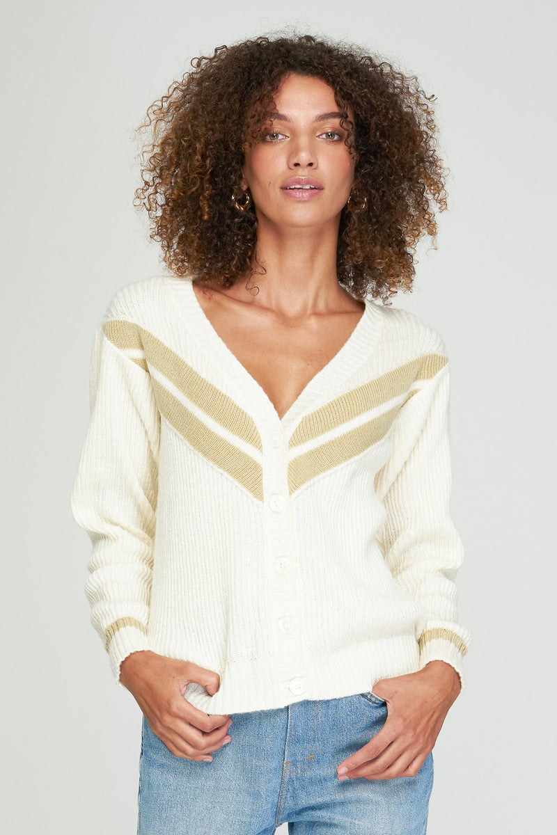 Debbie Cardigan - Off White, Sand Mix