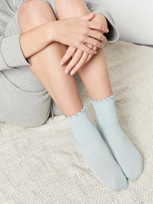 Frill Ribbed Socks - Blue