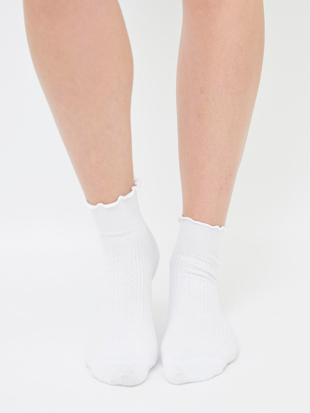 Frill Ribbed Socks - White
