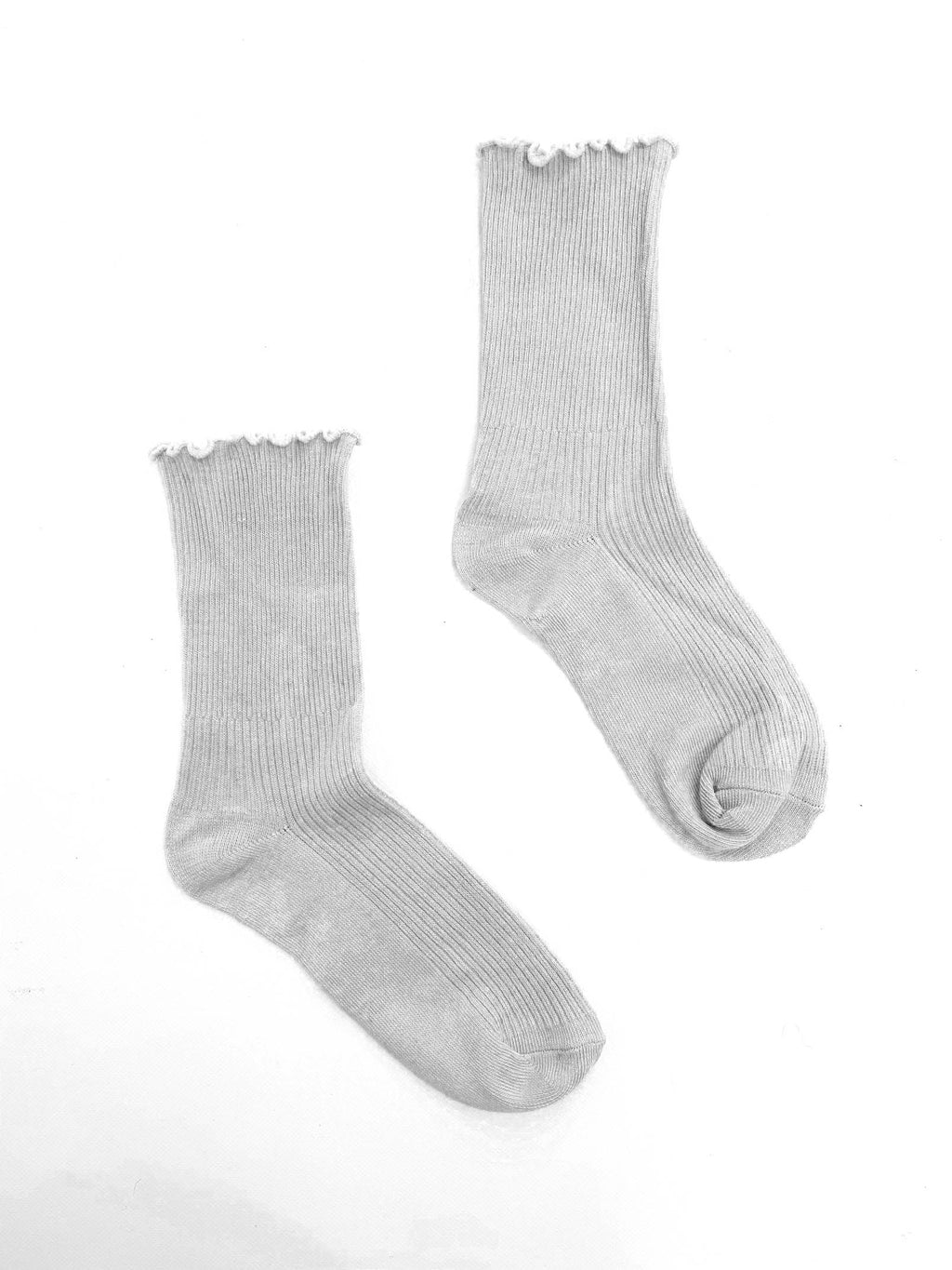 Frill Ribbed Socks - Grey