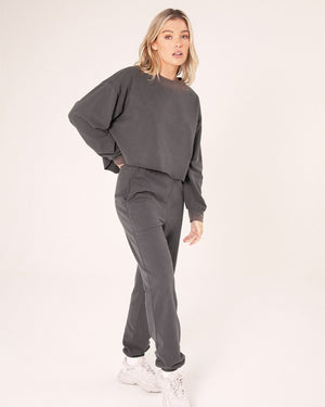 High Waisted Pants - Charcoal