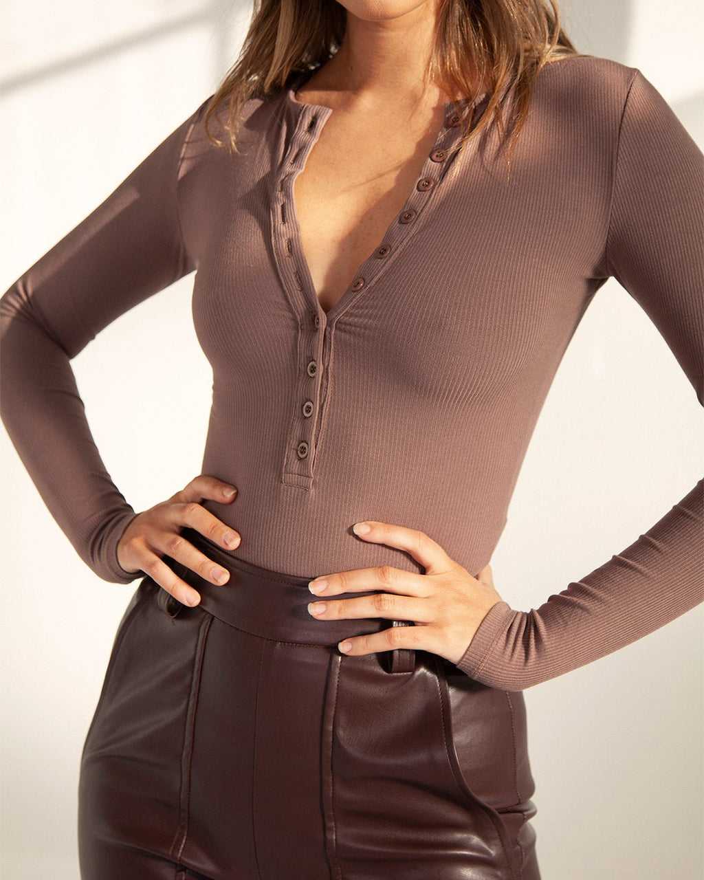 Long Sleeve Crew Neck Button Down Bodysuit - Brown