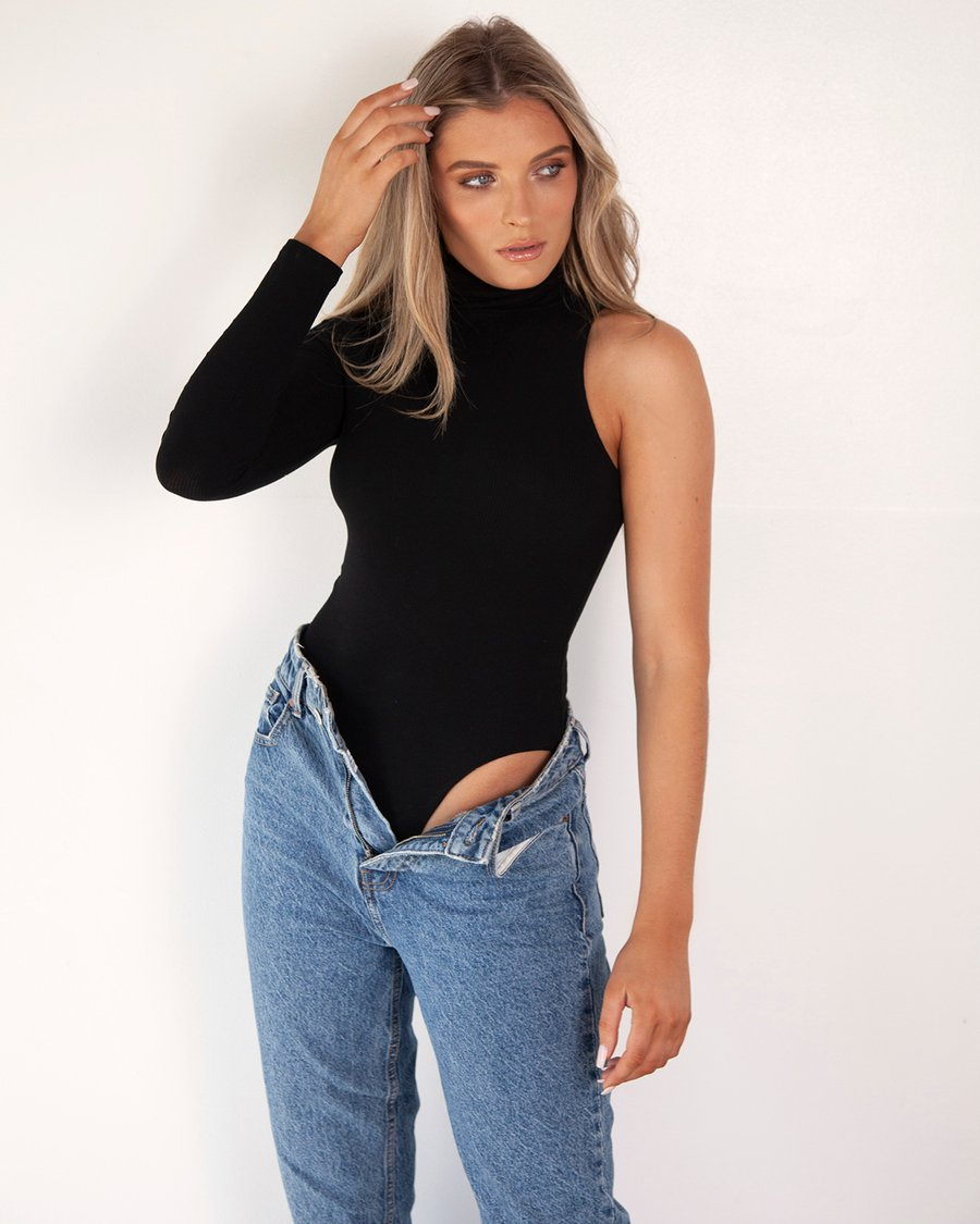 One Arm Turtle Neck Bodysuit - Black