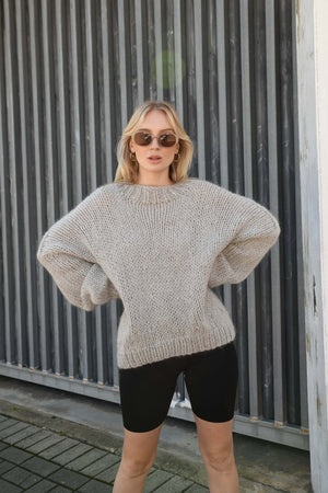 Desiree Oversize Merino Wool Jumper - Grey