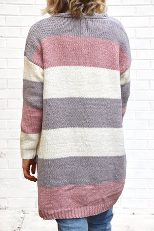 Sorento Cardigan - Grey, Pink & White