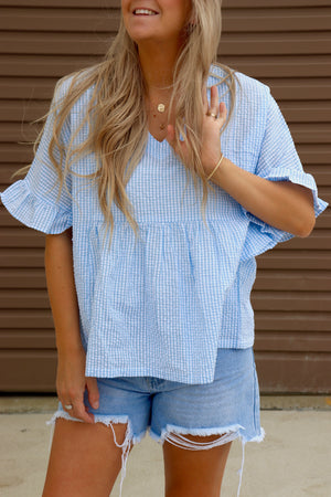 Baby Doll Top - Baby Blue & White Gingham