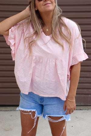 Baby Doll Top - Pink & White Stripe