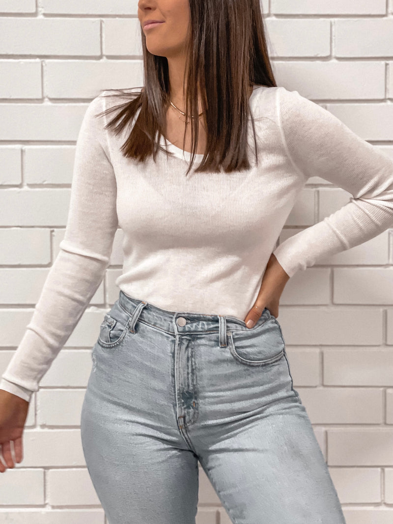 Scoop Neck Basic Knitted Top - White