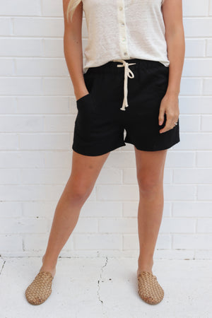 Luxe Linen Shorts - Black