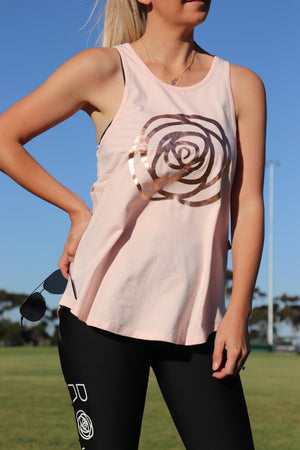 Rose Road Racerback Singlet - Blush