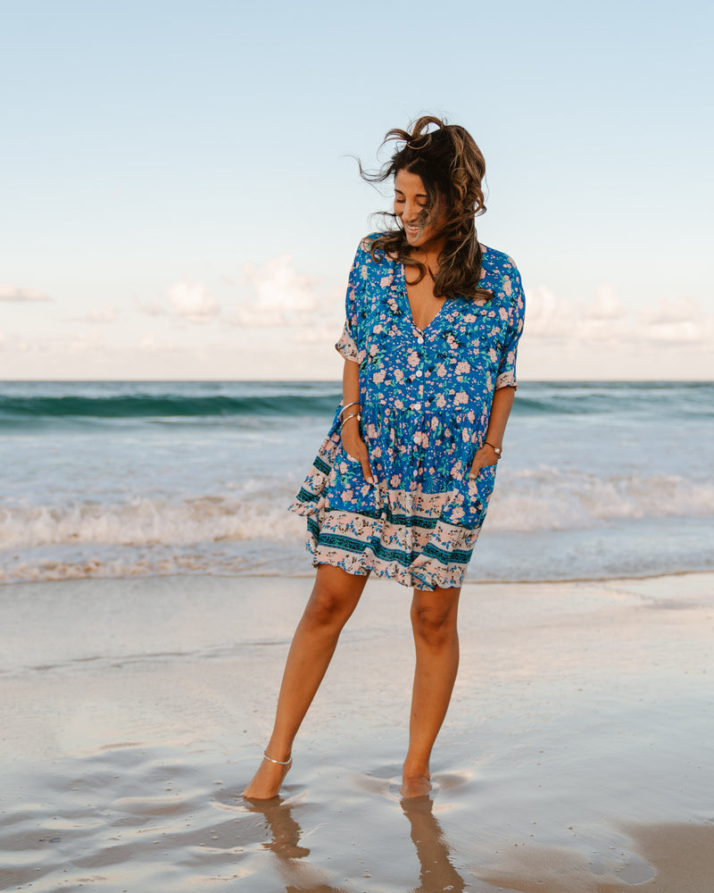 Ava Tunic Dress - Blue Floral Print