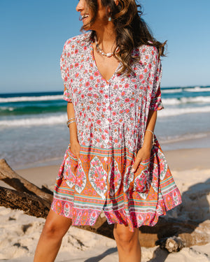 Avalon Tunic Dress - Pink & Green Floral Print