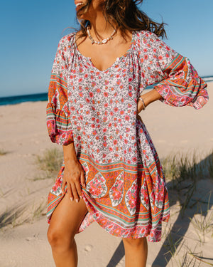 Avalon Mini Dress - Pink & Green Boho Print
