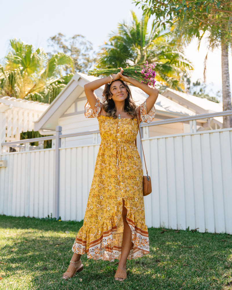 Maya Off Shoulder Maxi Dress - Mustard Floral