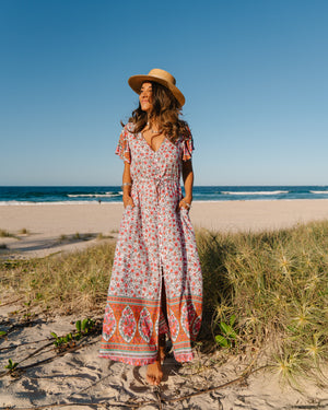 Avalon Maxi Dress - Pink & Green Floral Print