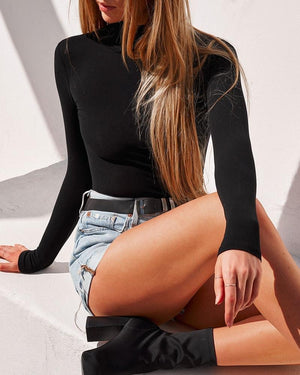 Turtle Neck Bodysuit - Black
