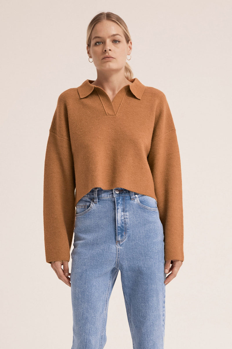 Oversized Collared Knit - Camel