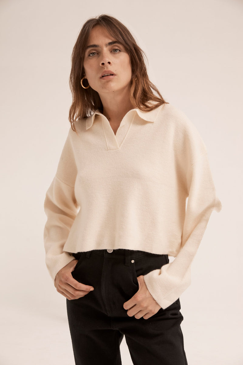 Oversized Collared Knit - Cream