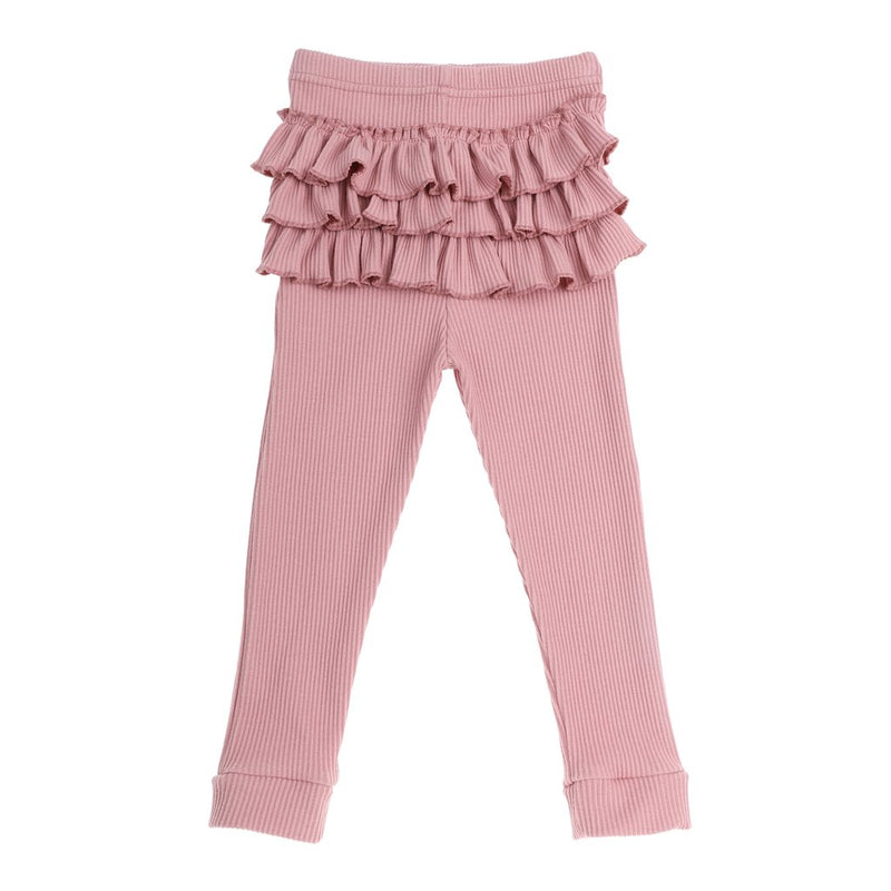 Ribbed Ruffle Tights - Dusty Pink