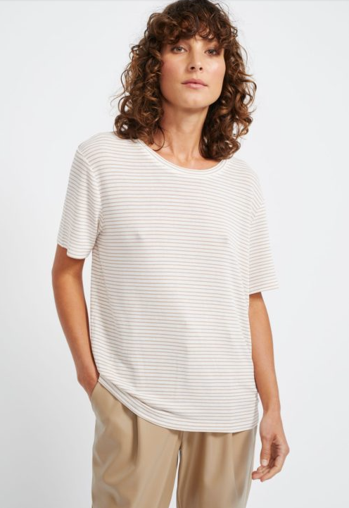 Sandy Stripe Tee - White/Beige