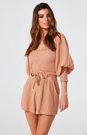 Rae Shirred Cotton Top - Blush