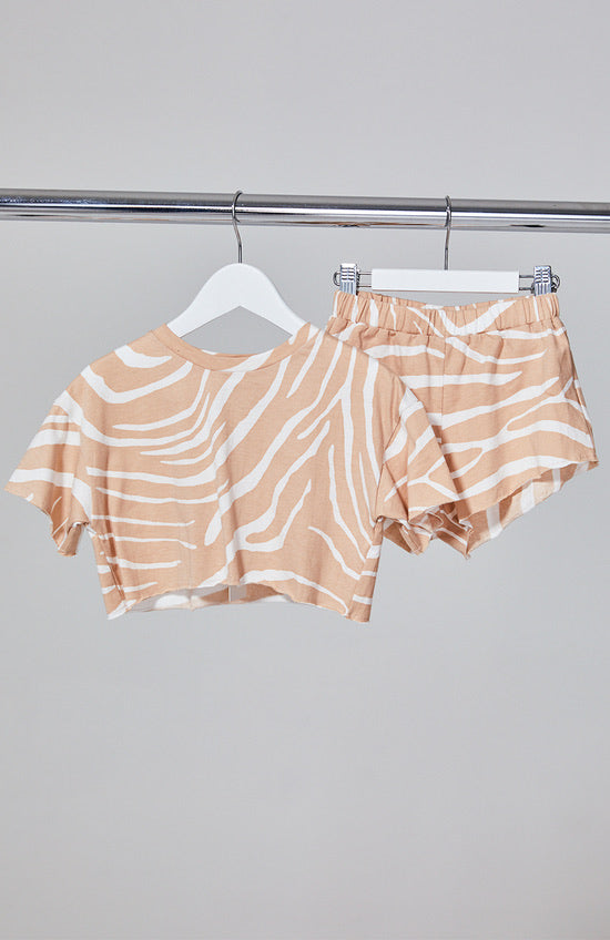 MINI Tee & Shorts Set - Blush Zebra
