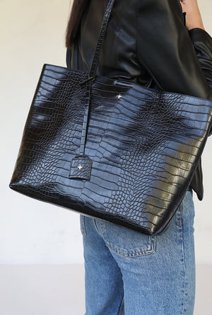 Saint Bag - Black Croc