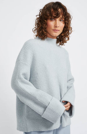 Elise Rib Knit Jumper - Dusty Blue