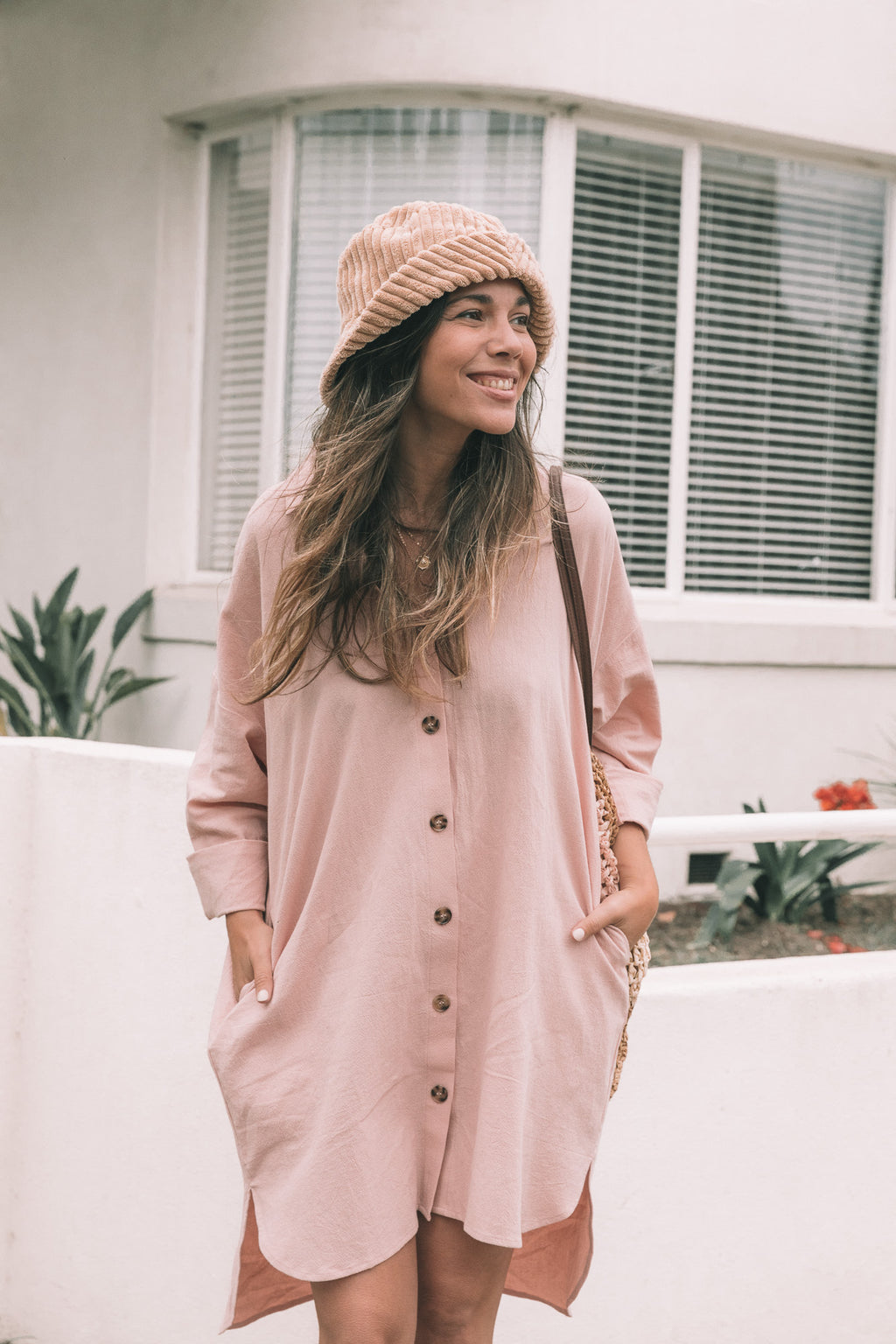 Bowie Shirt Dress - Dusty Pink