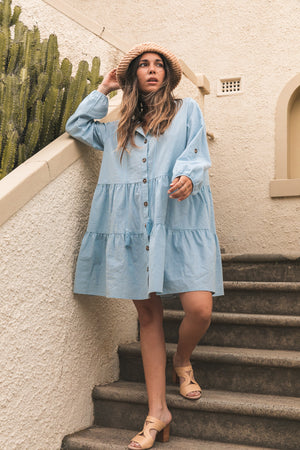 Jaiya Tier Mini Dress - Baby Blue