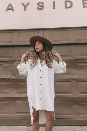 Bowie Shirt Dress - White