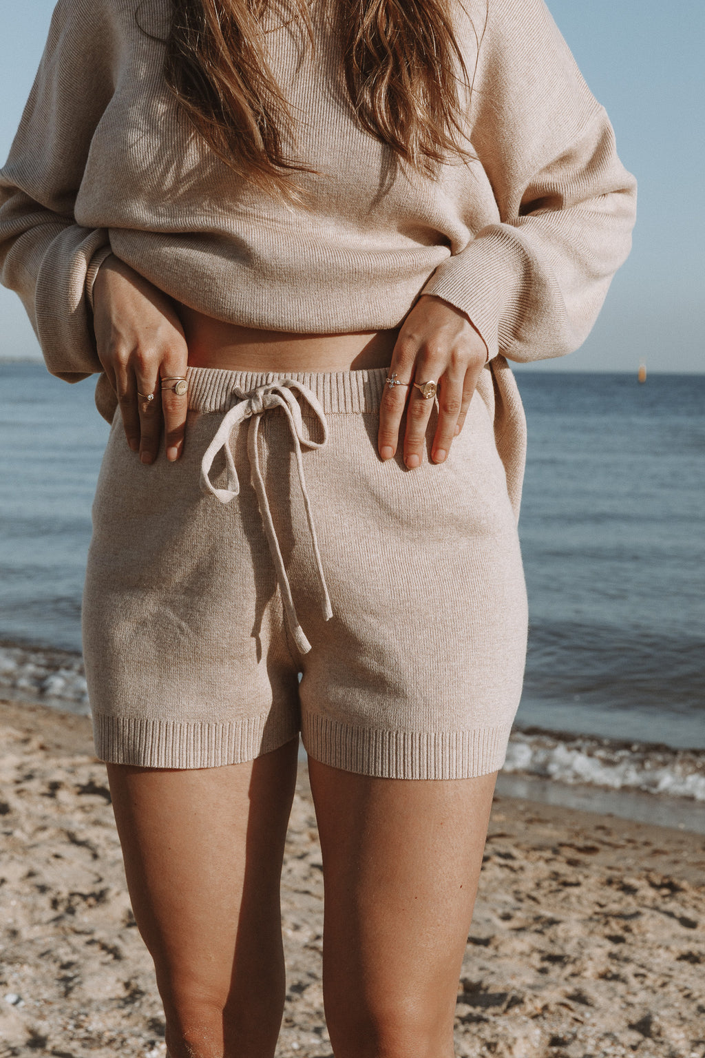 Luna Knit Shorts - Beige
