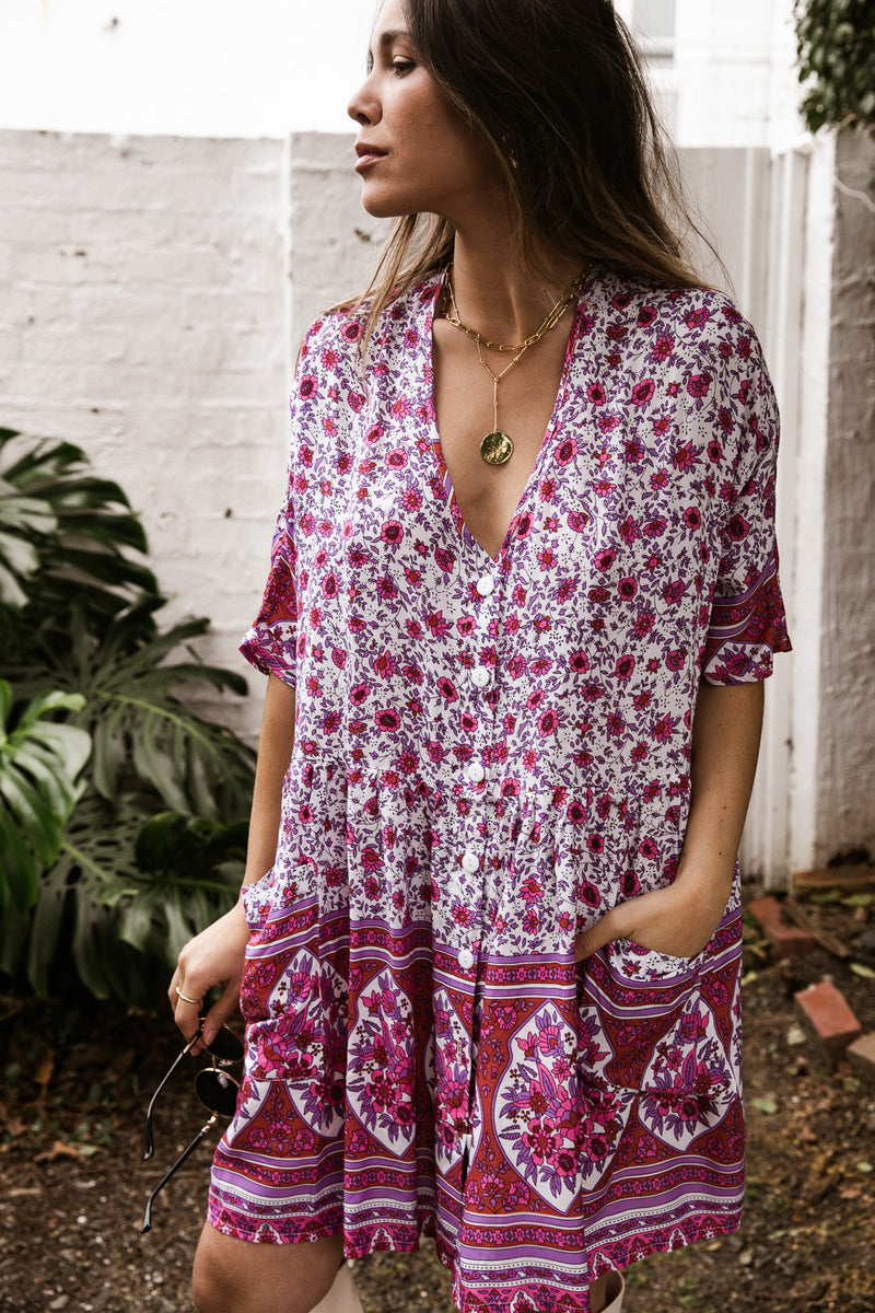 Sara Tunic Dress - Pink Floral