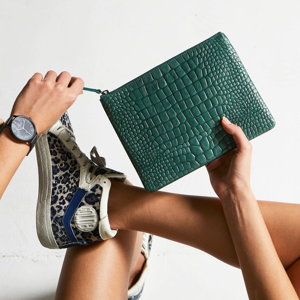 Fake It Clutch - Teal Croc Emboss
