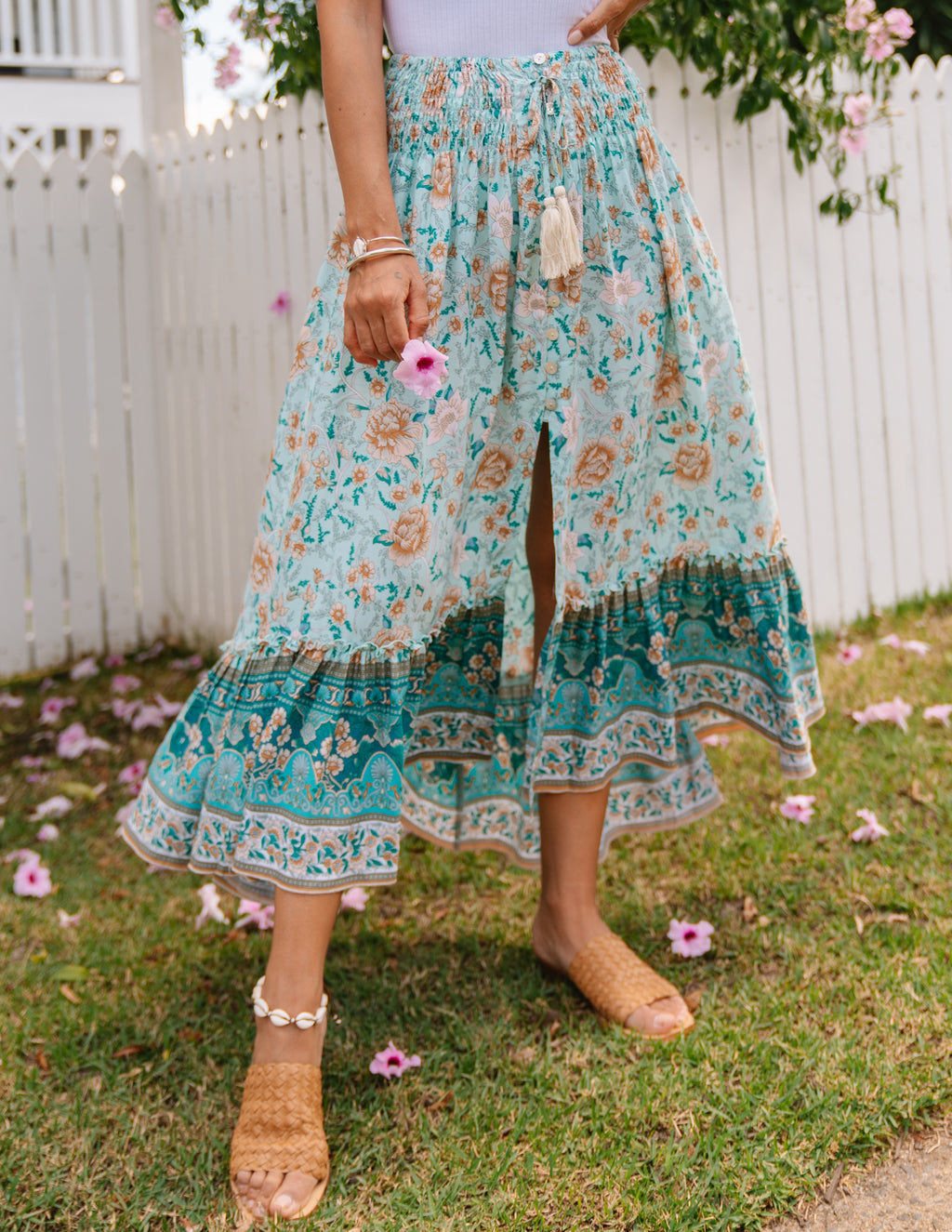Bella Midi Skirt - Baby Blue Floral