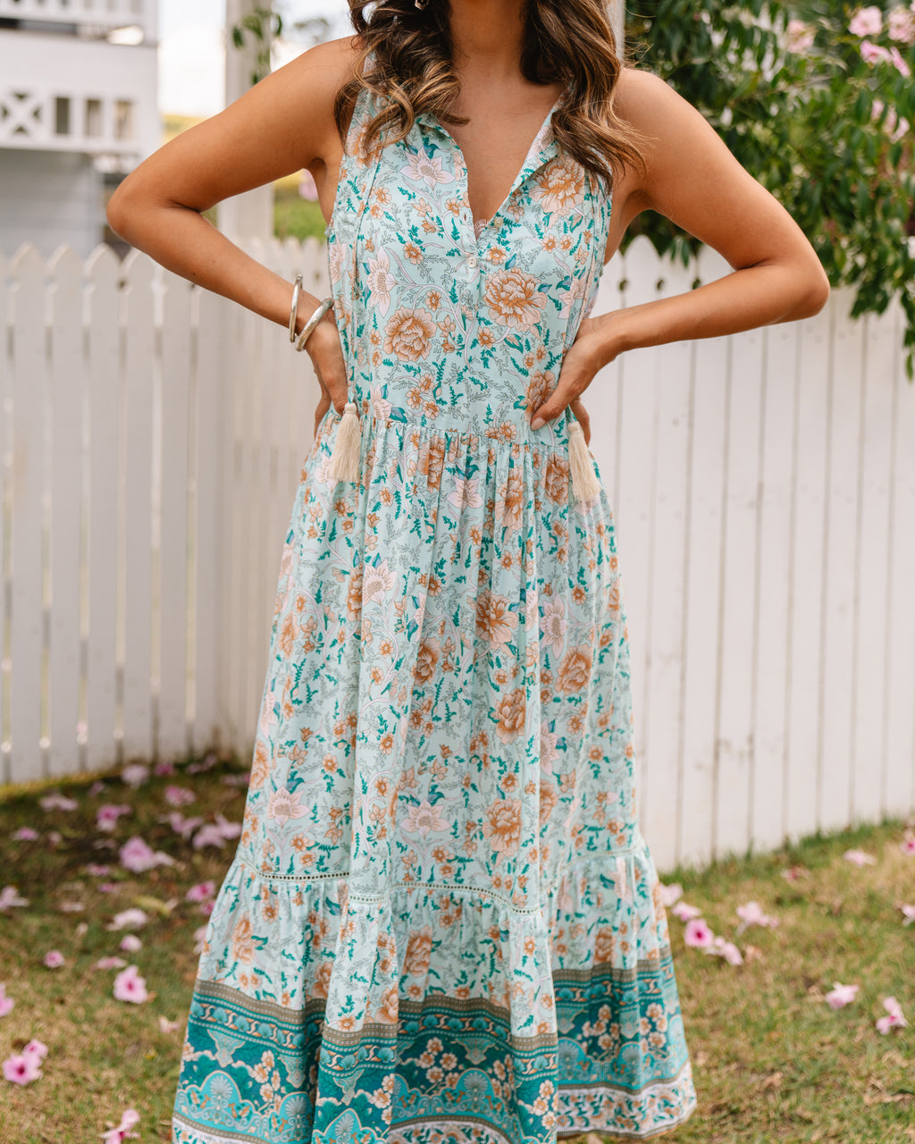 Bella Maxi Dress - Baby Blue Floral