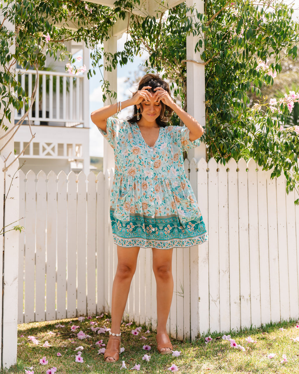 Bella Tunic Dress - Baby Blue Floral