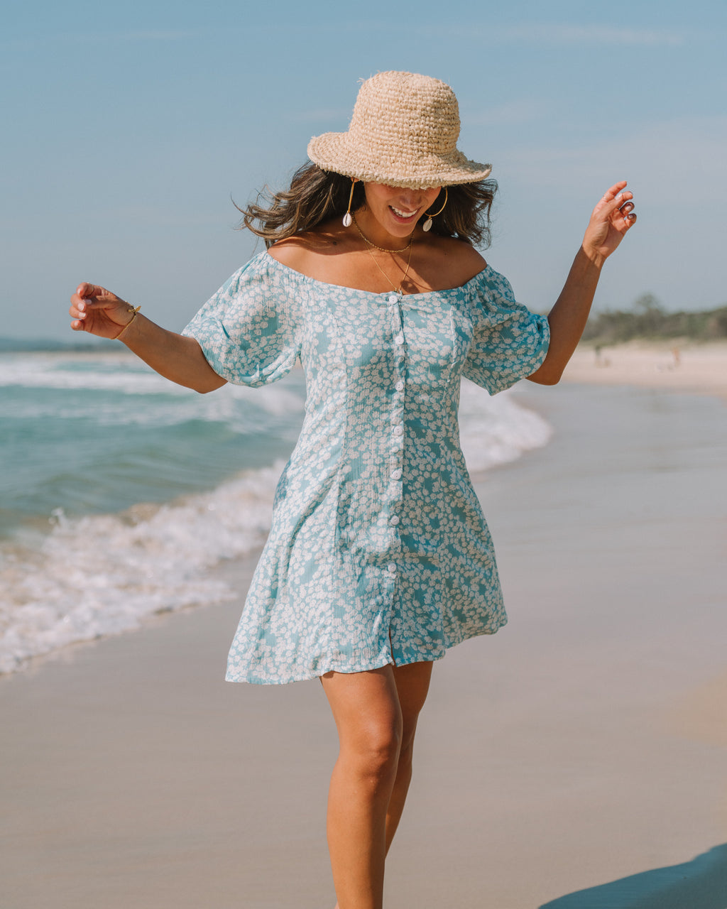Ocean Button Up Mini Dress