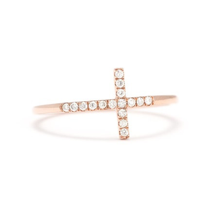 Gold & Diamond Sideways Cross Stack/Midi Ring